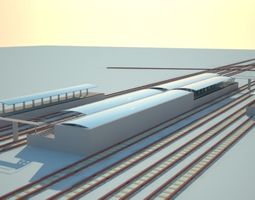 Railway Station 3D model architectural
