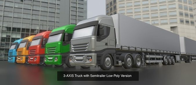 3-axis truck with semitrailer low and high-poly package 3d model obj mtl 3ds fbx dxf stl blend 1