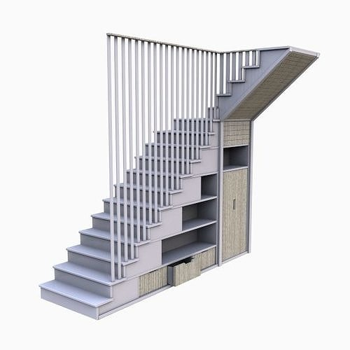 modern cabinet stair model 3d model max obj mtl 3ds fbx 1