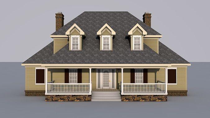 house 3d model obj mtl 3ds fbx c4d 1