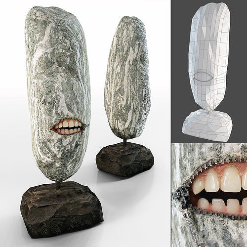 stone sculpture by hirotoshi itoh 3d model max fbx 1
