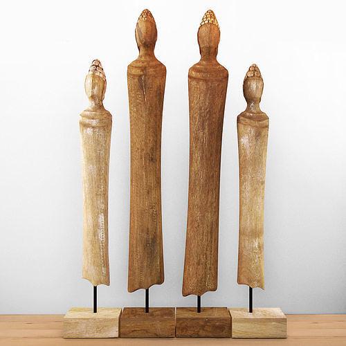 wood sculpture buddha 3d model max fbx 1