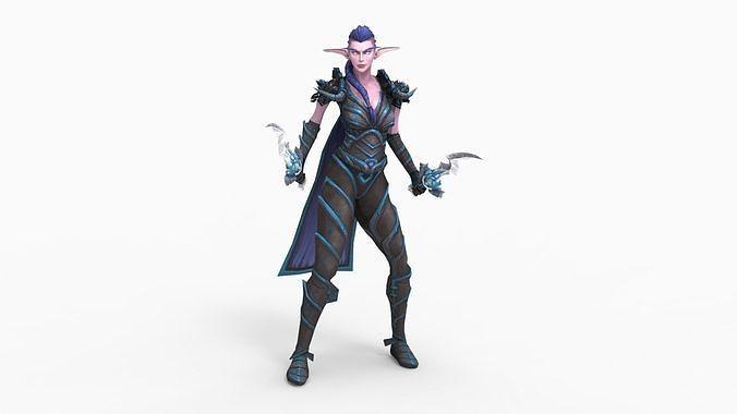 Night dark female elf - WoW 2019 | 3D model