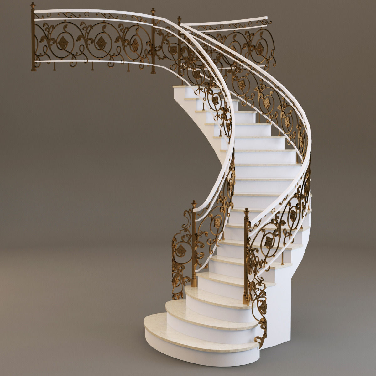 Lovely Classical Staircase 3d Model Max Obj Mtl Fbx 1 ...