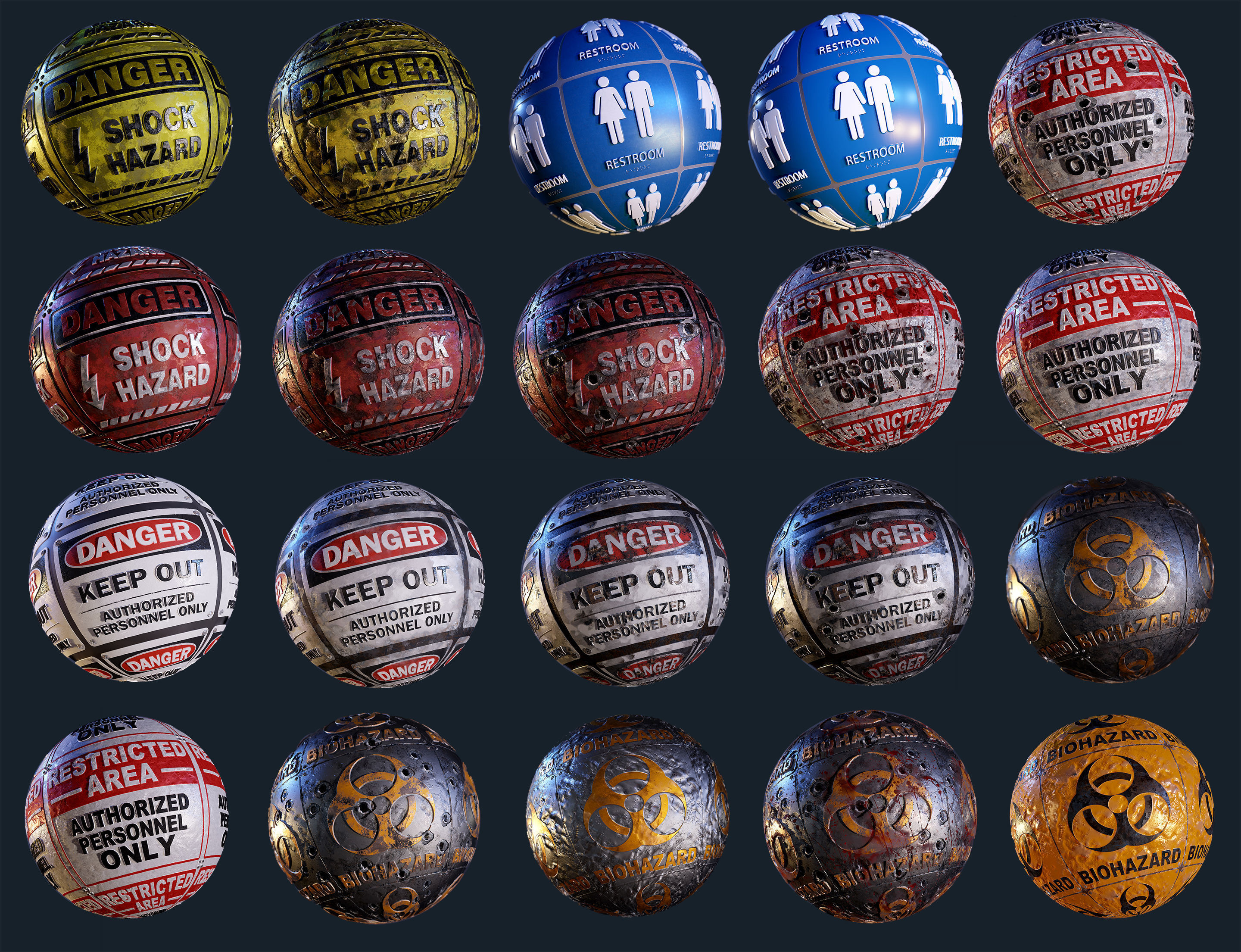 20 Signage Seamless PBR Textures Pack