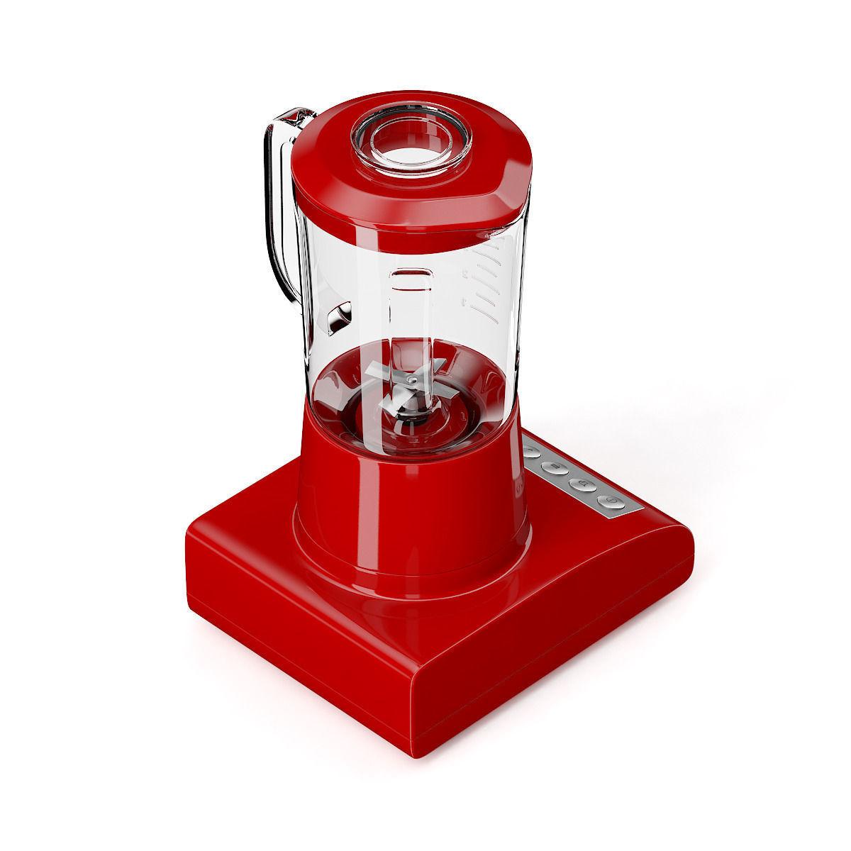Red Countertop Blender 3D Model MAX OBJ FBX C4D MTL