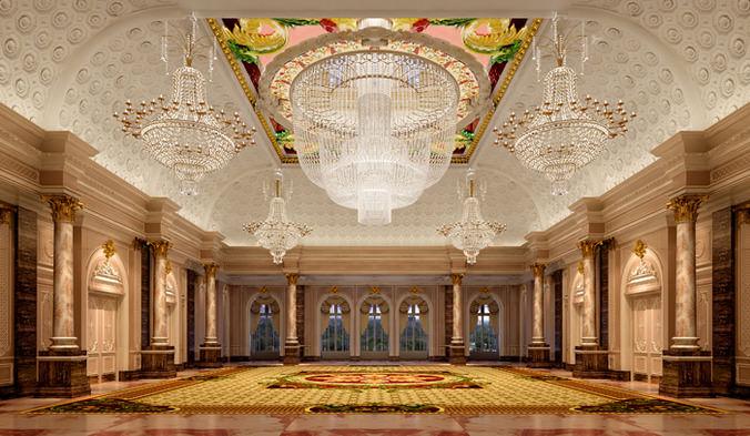 3d Luxurious Banquet Hall Cgtrader