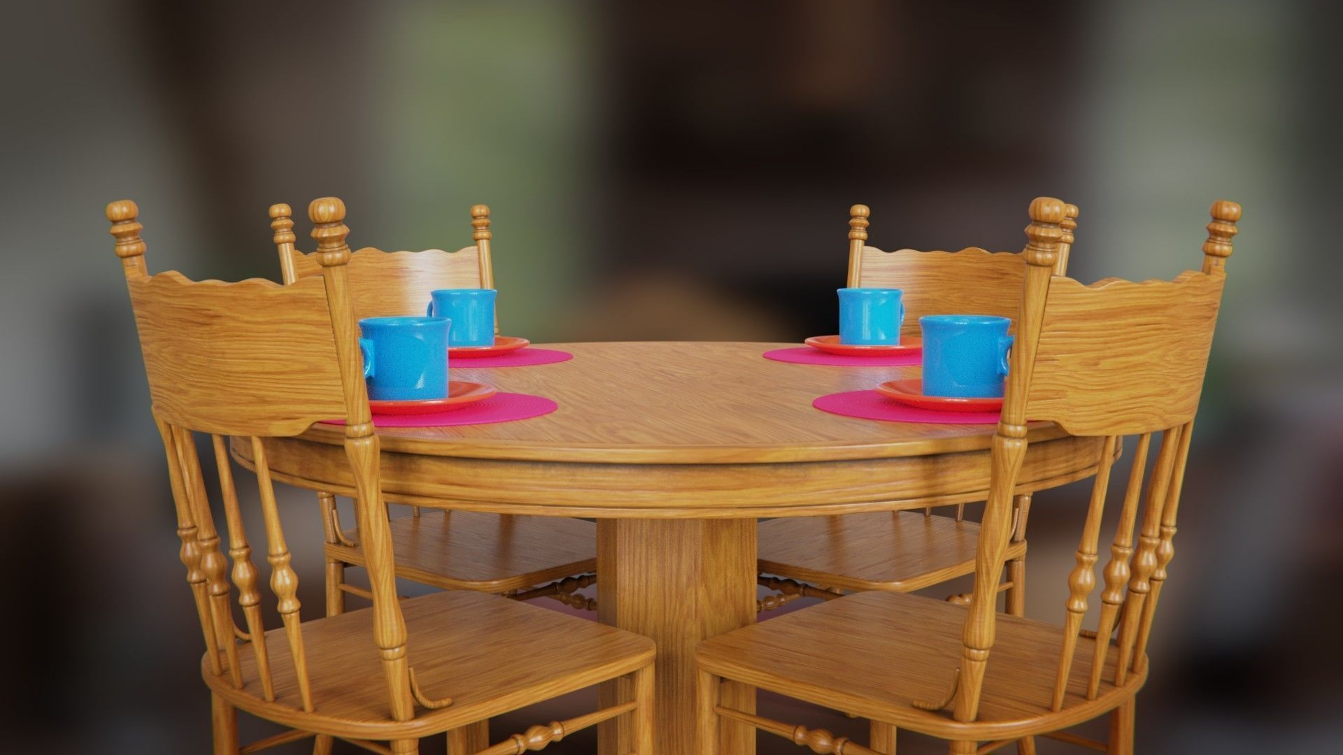 Picture of: 3d Asset Wooden Dining Table And Chair Cgtrader