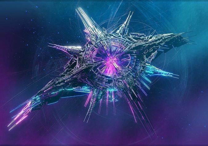 Alien World Destroyer Starship