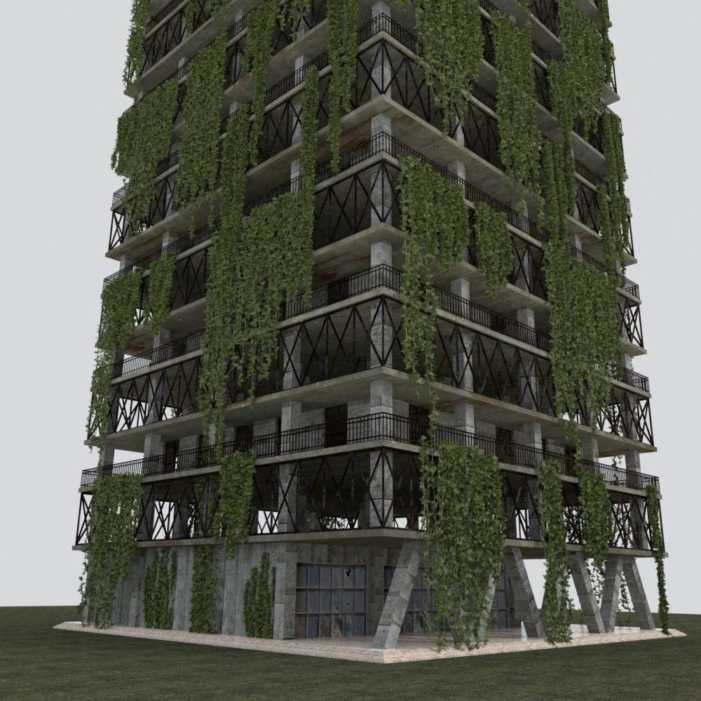 DAMAGED POST APOCALYPSE OLD BUILDING ABANDONED 3D Model