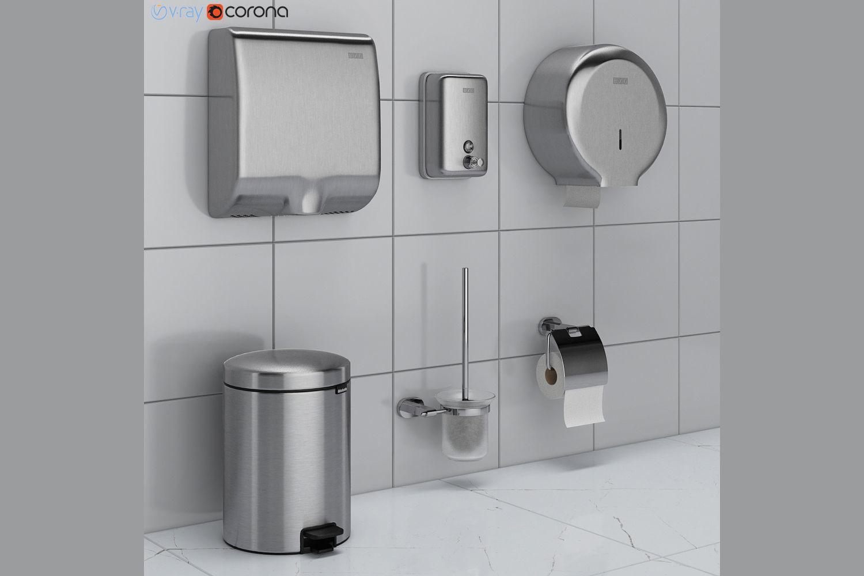 Bathroom Accessories.Bathroom Accessories Set 43 Ravak Brabantia 3d Model