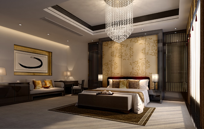 3d spacious hotel bed room cgtrader for Bedroom designs 3d model