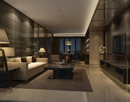 Luxurious and modern living room 3D