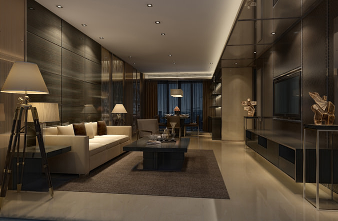 Luxurious and modern living room 3d cgtrader for Living models