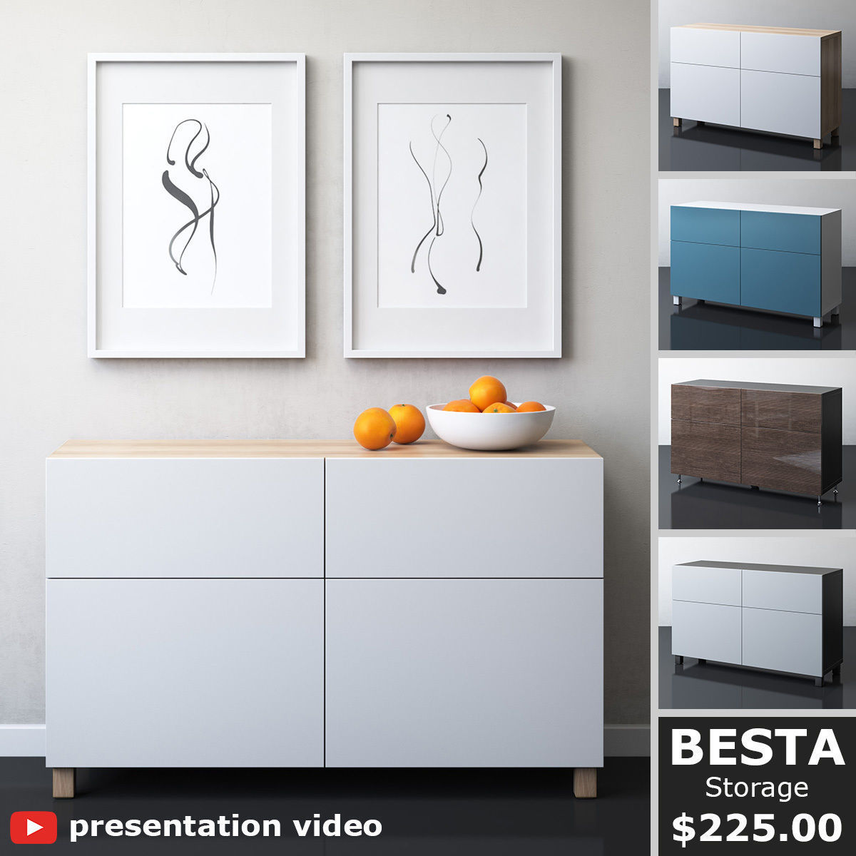 BESTA Storage combination with doors and drawers