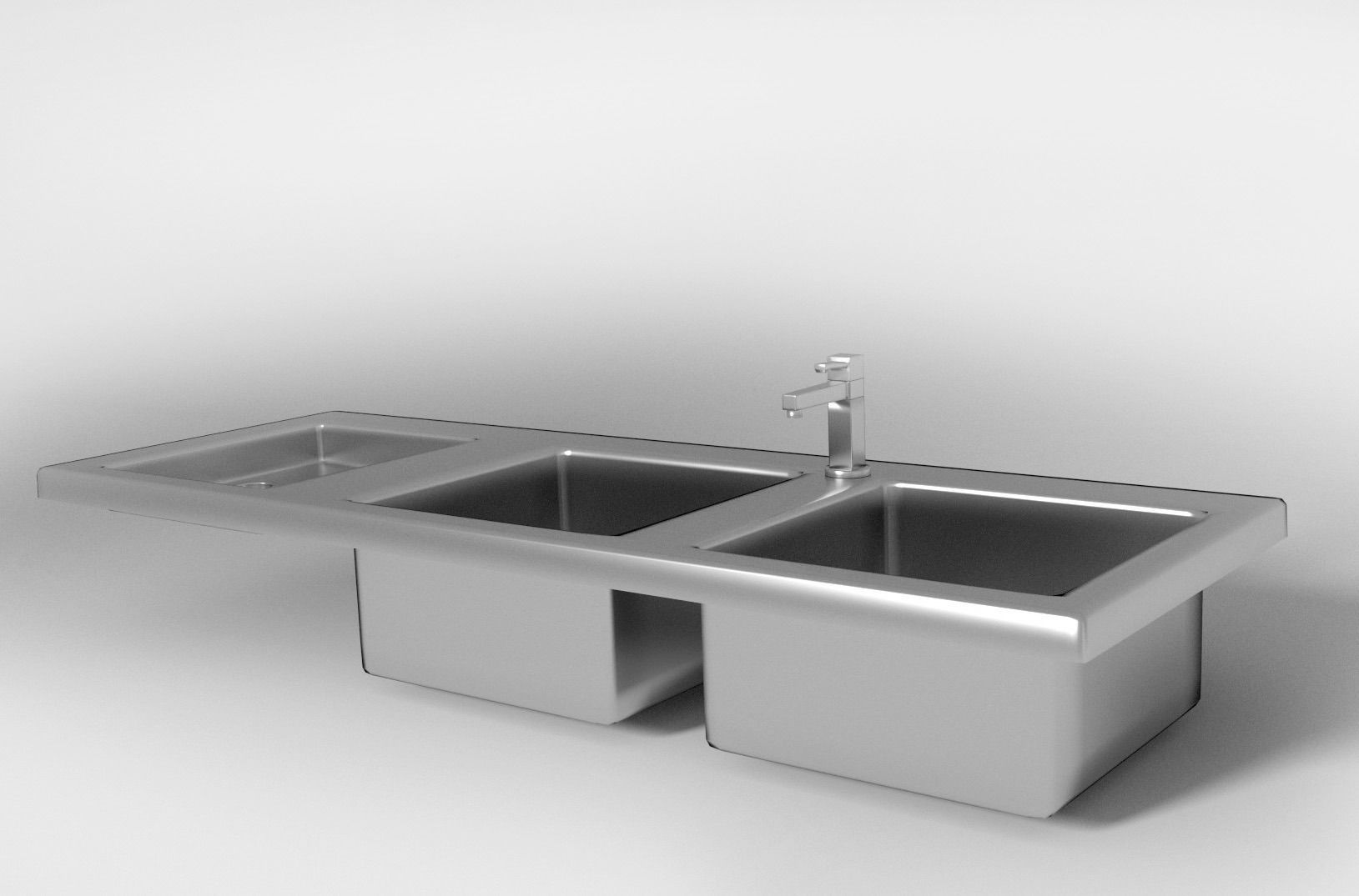 Sink Tap Modell : Kitchen sink and tap d model cgtrader