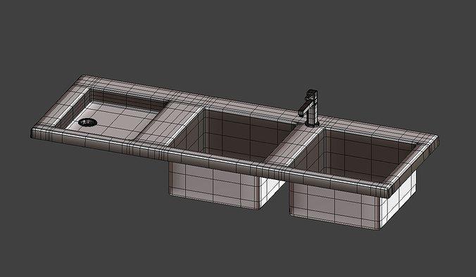 Kitchen sink and tap 3D Model OBJ 3DS FBX BLEND MTL