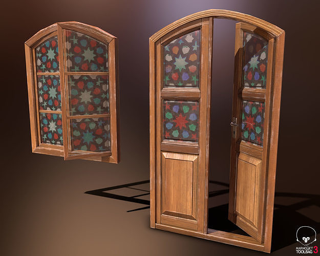 Old Wooden Door and Window Low poly PBR