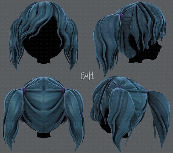 3D Hair style for girl V70