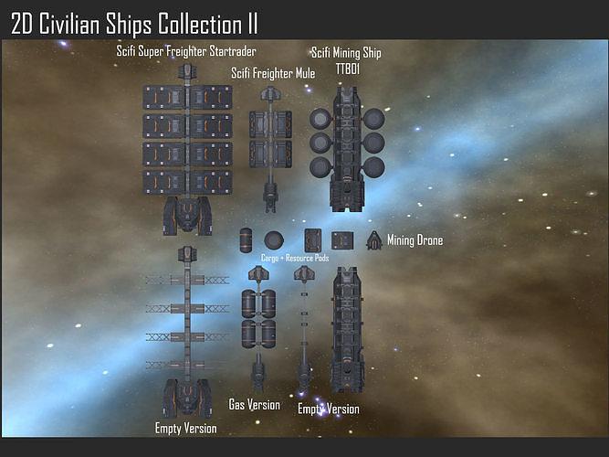 2D Civilian Ships Collection II