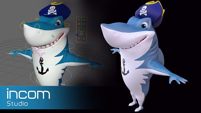 Asset - Cartoons - Animal - Shark 02 - Rig