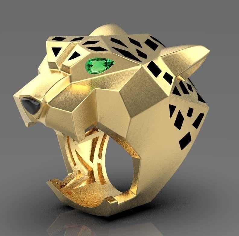 Panther Ring 3D Print Model Diamond