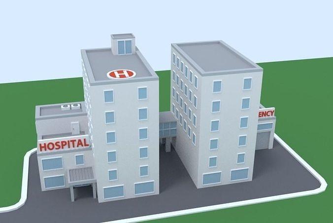 Cartoon Low Poly Hospital