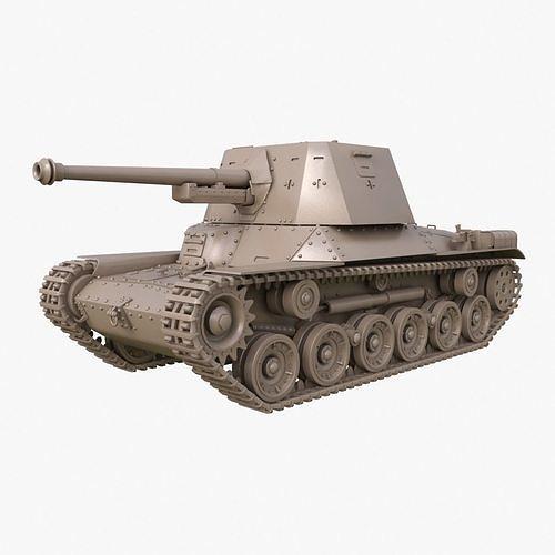 Tank Type 3 Ho Ni III Japan Clay Mental Ray