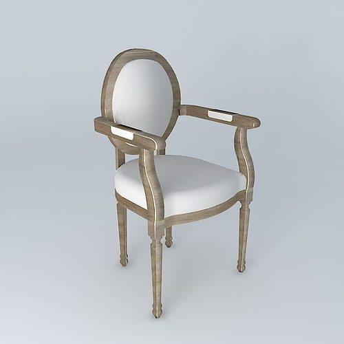 3d louis chair maisons du monde cgtrader. Black Bedroom Furniture Sets. Home Design Ideas