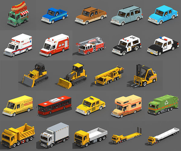 Voxel Vehicles Pack 24 Vehicles