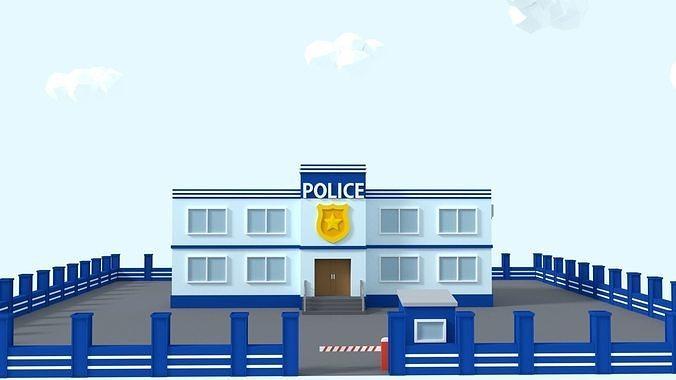 Cartoon Low Poly Police Station