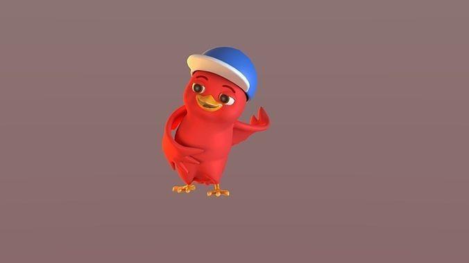 Cartoon Bird with Hat