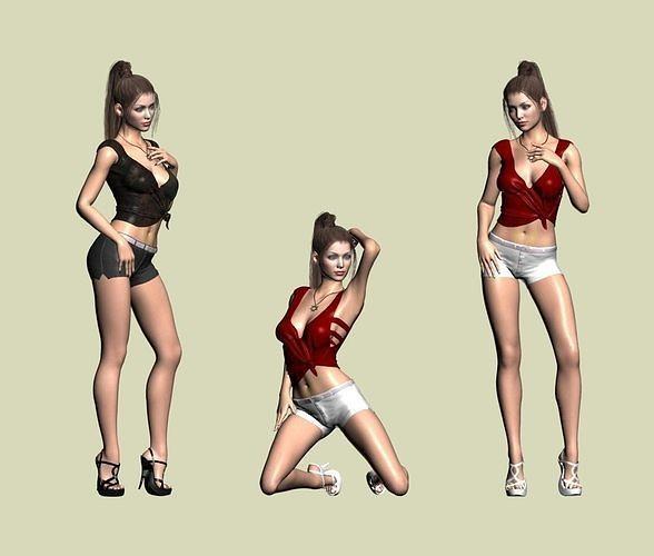 Shorts sexy bikini girl 3d model
