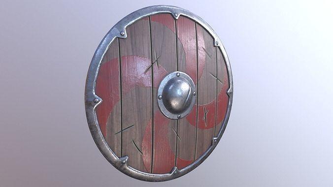Viking Shield Low Poly Game Ready