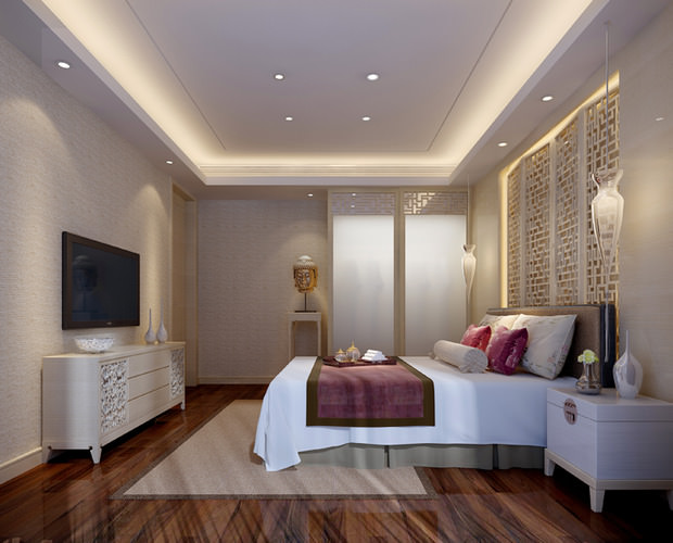 3d small hotel bed room cgtrader for Bedroom designs 3d model