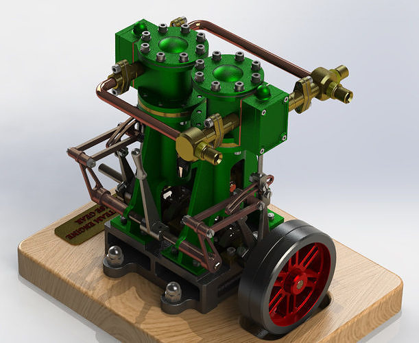 VERTICAL TWIN STEAM ENGINE - WITH REVERSE GEAR