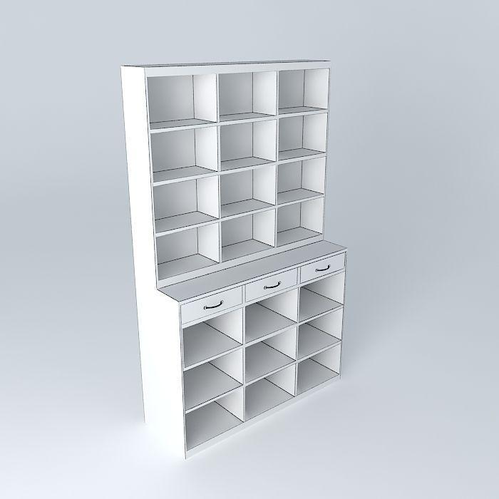 Library edison 21 casiers maisons du monde 3d model max for Maison du monde 21