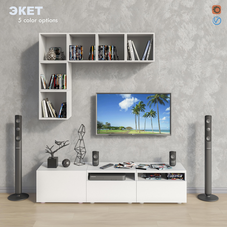 Modular Furniture And Decor Set 11 3d Model