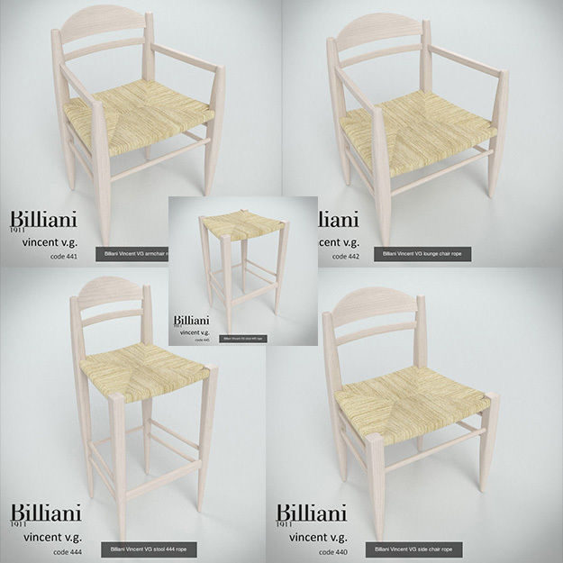 5 model pack - Billiani Vincent VG rope seat chair