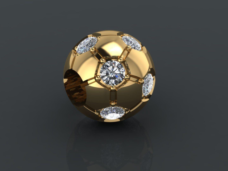 Gold ball Charm with diamonds