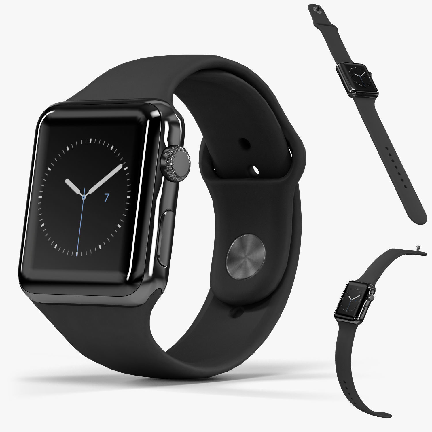 Apple Watch Space Black Stainless Steell Case Black Sport Band