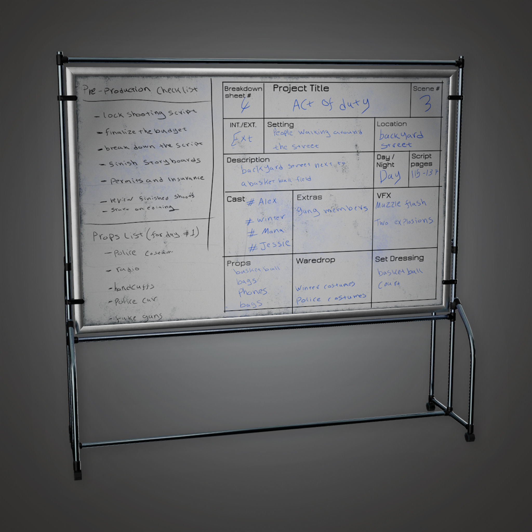 HLW - Schedule White Board - PBR Game Ready