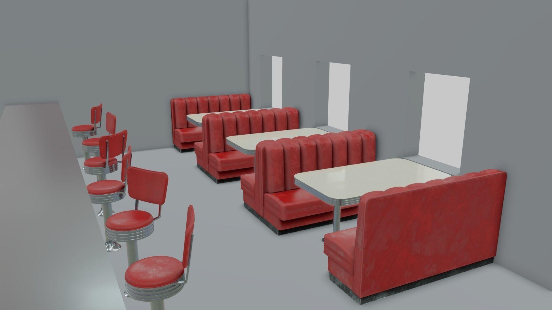 1950s Diner sitting set | 3D Model Collection