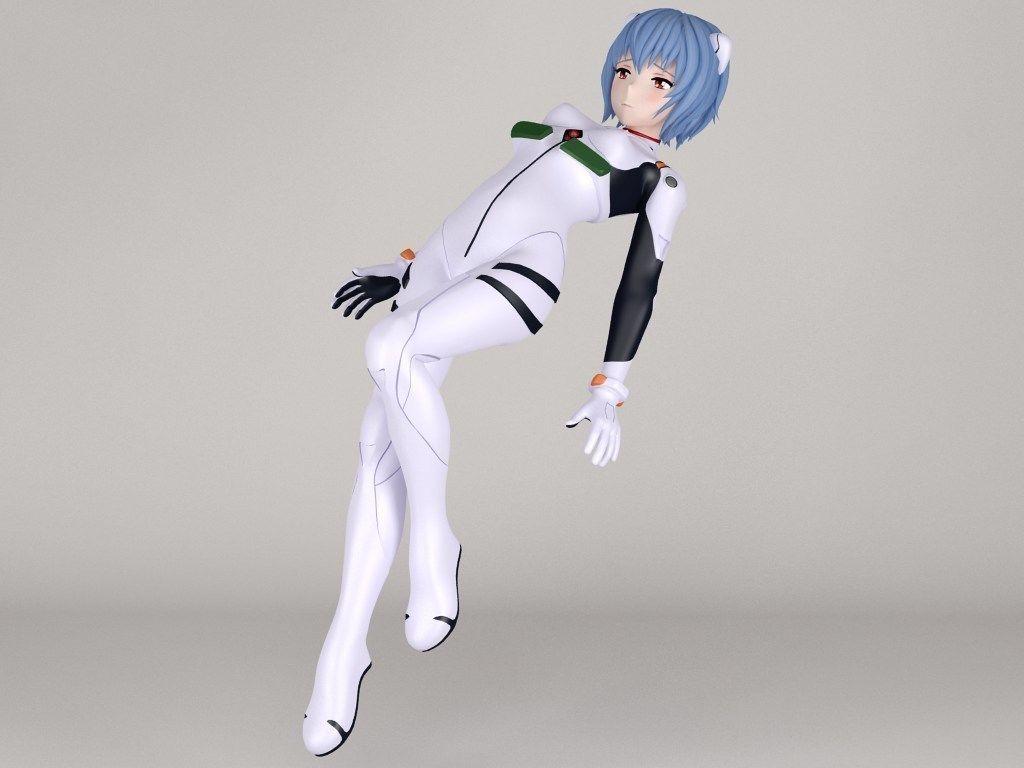 Rei Ayanami Anime Girl Pose 02 3d Cgtrader