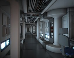 3d model animated spacecraft corridor hd