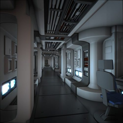 spacecraft corridor hd 3d model animated obj fbx blend mtl 1