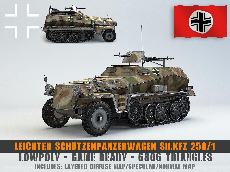 Low Poly  Schutzenpanzerwagen SdKfz 250 1