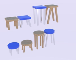 Low Poly Stool Pack 3D model