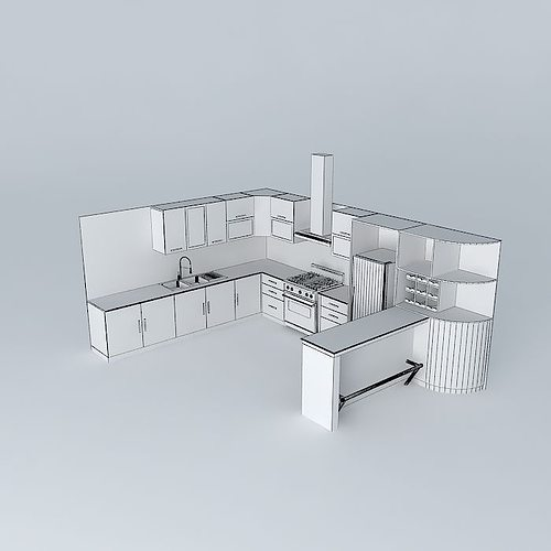 3D model Kitchen design with equipment | CGTrader