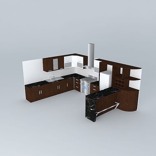 3d model kitchen design with equipment cgtrader for Model kitchen design